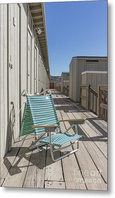 Beach Chair At The Changing Rooms Metal Print by Edward Fielding