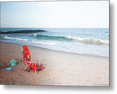 Metal Print featuring the photograph Beach Chair By The Sea by Ann Murphy