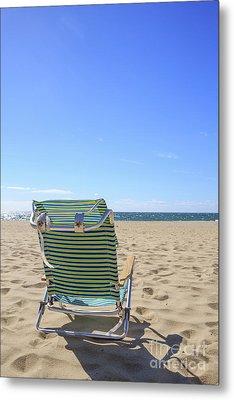 Beach Chair On A Sandy Beach Metal Print by Edward Fielding