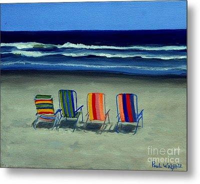 Beach Chairs Metal Print by Paul Walsh