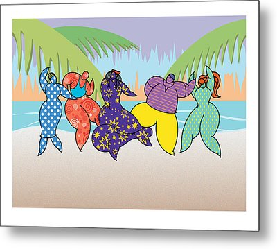 Beach Dancers Metal Print