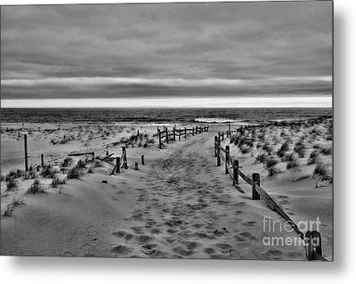 Metal Print featuring the photograph Beach Entry In Black And White by Paul Ward