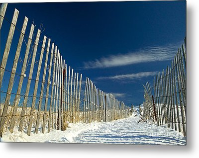 Beach Fence And Snow Metal Print by Matt Suess