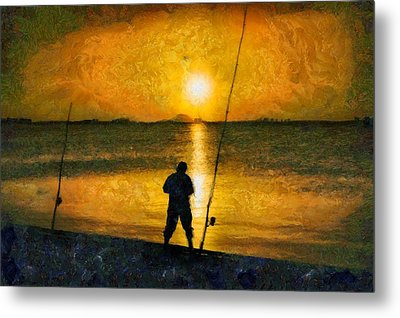 Metal Print featuring the photograph Beach Fishing  by Scott Carruthers
