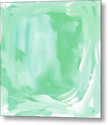 Beach Glass Blues Abstract- Art By Linda Woods Metal Print by Linda Woods