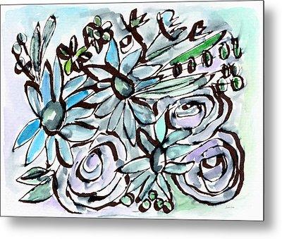 Beach Glass Flowers 2- Art By Linda Woods Metal Print by Linda Woods