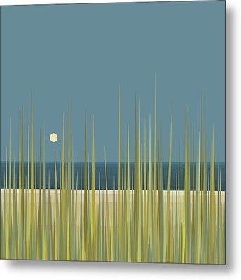 Metal Print featuring the digital art Beach Grass And Blue Sky by Val Arie