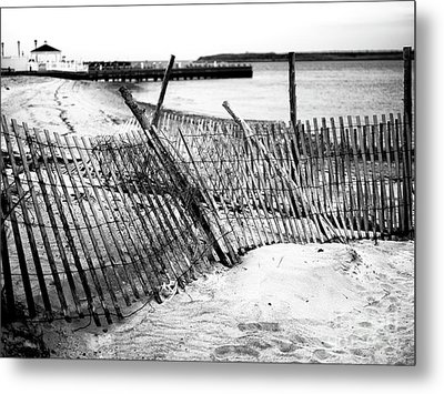 Metal Print featuring the photograph Beach Haven Dune Fence by John Rizzuto