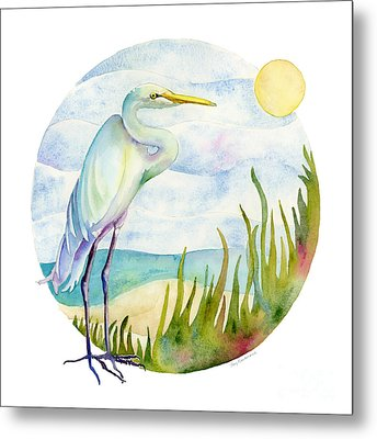 Beach Heron Metal Print