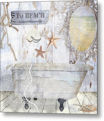Beach House Bath Metal Print
