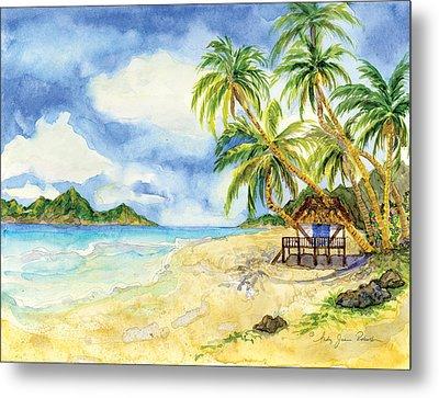 Beach House Cottage On A Caribbean Beach Metal Print