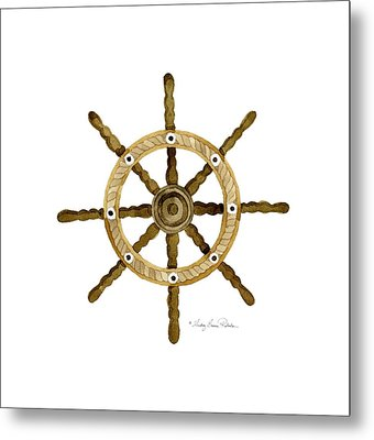 Beach House Nautical Boat Ship Anchor Vintage Metal Print by Audrey Jeanne Roberts
