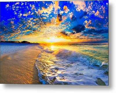 Metal Print featuring the photograph Beach Landscape Photography Golden Ocean Sunset by Eszra Tanner