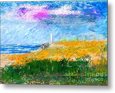 Beach Lighthouse Metal Print by David Lane