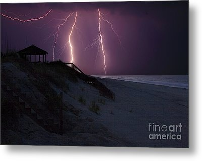 Beach Lighting Storm Metal Print by Randy Steele