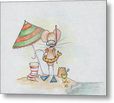 Beach Mouse Metal Print by Sarah LoCascio