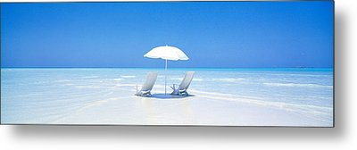 Beach, Ocean, Water, Parasol And Metal Print by Panoramic Images