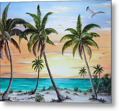 Beach Of Palms Metal Print by Riley Geddings