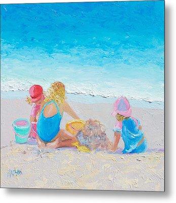 Beach Painting - Building Sandcastles Metal Print by Jan Matson