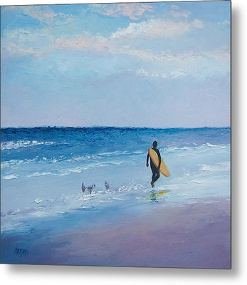 Beach Painting - The Lone Surfer Metal Print by Jan Matson