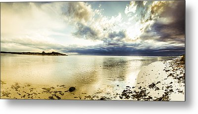 Beach Panorama Of A Sunrise Over The Sea Metal Print by Jorgo Photography - Wall Art Gallery
