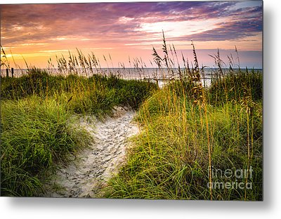 Beach Path Sunrise Metal Print