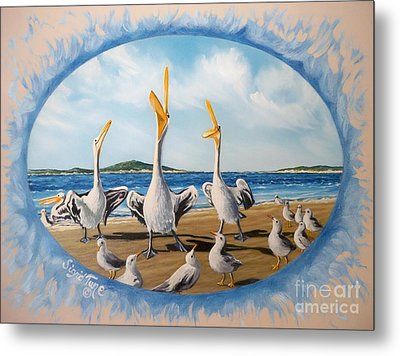Metal Print featuring the painting Beach Platoon by Sigrid Tune
