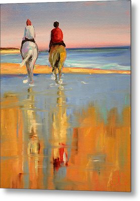 Beach Riders Metal Print by Trina Teele