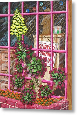 Metal Print featuring the painting Beach Side Storefront Window by Katherine Young-Beck