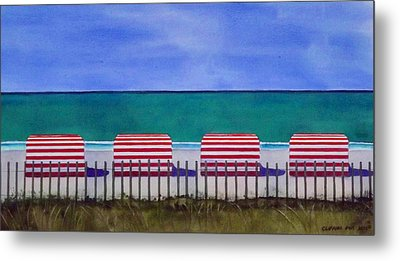 Beach Stripes Metal Print by Cory Clifford