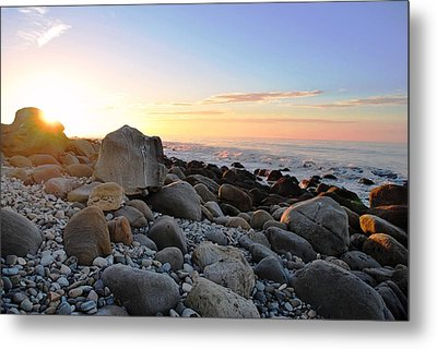 Beach Sunrise Over Rocks Metal Print