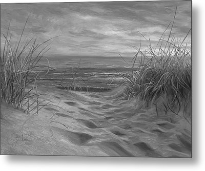 Beach Time Serenade - Black And White Metal Print by Lucie Bilodeau