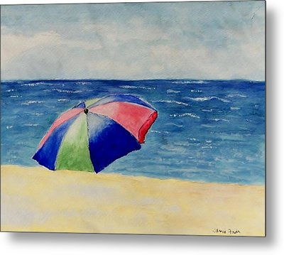 Metal Print featuring the painting Beach Umbrella by Jamie Frier