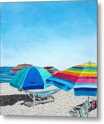 Beach Umbrellas Metal Print by Glenda Zuckerman