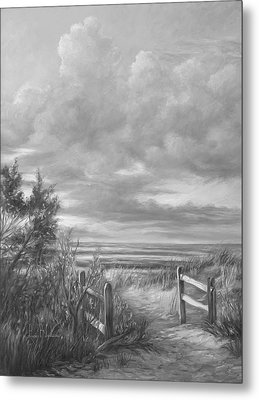 Beach Walk - Black And White Metal Print by Lucie Bilodeau