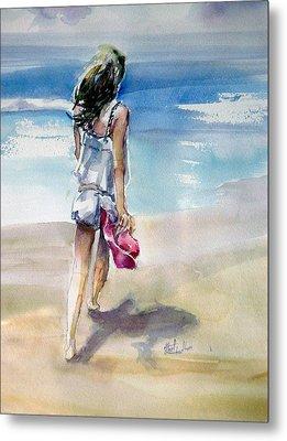 Beach Walk Metal Print by Shirley Roma Charlton