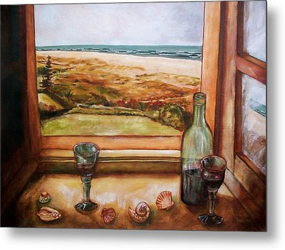 Beach Window Metal Print
