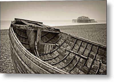 Beached At Brighton In Sepia Metal Print by Tony Grider