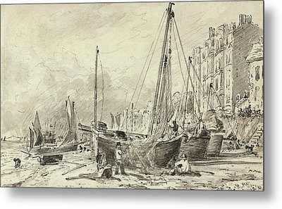 Beached Fishing Boats With Fishermen Mending Nets On The Beach At Brighton, Looking West Metal Print