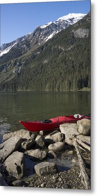 Beached Kayak In Alaska Metal Print