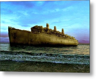 Beached Wreck Metal Print by Tom Straub