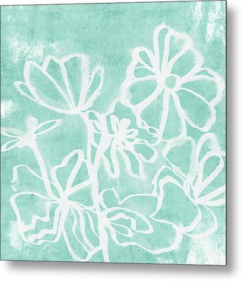 Metal Print featuring the mixed media Beachglass And White Flowers 2- Art By Linda Woods by Linda Woods