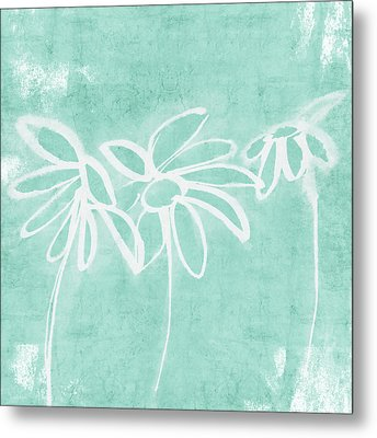 Metal Print featuring the mixed media Beachglass And White Flowers 3- Art By Linda Woods by Linda Woods