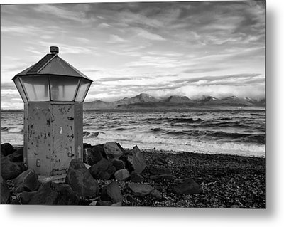 Beacon At Hvaleyrarviti In Iceland Bw Metal Print by Andres Leon