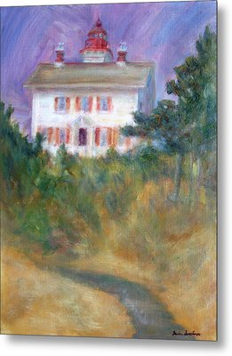 Beacon On The Hill - Lighthouse Painting Metal Print by Quin Sweetman
