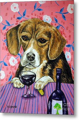 beagle at the Wine Bar Metal Print by Jay  Schmetz