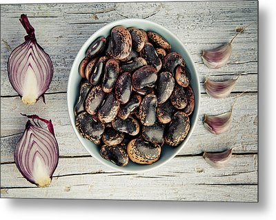 Beans, Garlic And Onion Metal Print by Nailia Schwarz