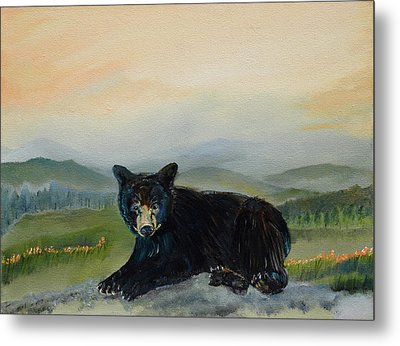 Bear Alone On Blue Ridge Mountain Metal Print