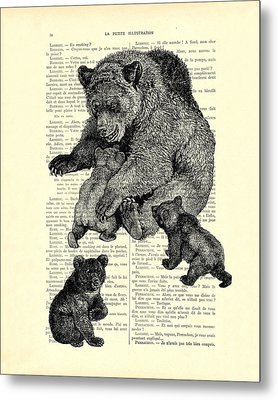 Bear And Cubs Black And White Antique Illustration Metal Print