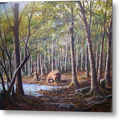 Bear And Her Cubs Metal Print